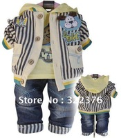 2012 spring new cotton three-piece baby set of infant suit stripes coat