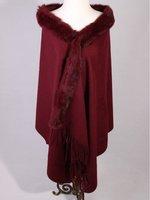 New Burgundy Winter Shawl Chinese Women's 100% Wool Cashmere Rabbit Fur Scarf Thick Warm Wrap SC-011