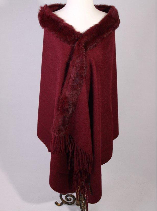New Burgundy Winter Shawl Chinese Women's 100% Wool Cashmere Rabbit Fur Scarf Thick Warm Wrap SC-011(China (Mainland))