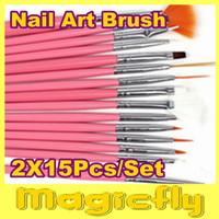 [FG002]2x15 Pcs Nail Art Design acrylic brush UV Gel Set Painting Draw Pen Pink Handle Brush Tips Tool+Free Shipping
