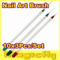 [3DZCDHB-001]10x3pcs/set  Nail Art Acrylic Brush Pen Paint Liner Drawing+Free Shipping