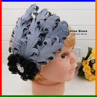 Sunshine store #2B2213  retail 1 pcs new baby headband baby black&gray Crystal diamond flower feather headband  free  CPAM