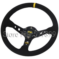 Hot: OMP Suede Leather Racing Car Steering Wheel With Black Stitch