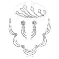 Free Shipping Hot Sale Fashion Crystal African Jewelry Sets Silver Wedding Necklace Set Bridal Costume Tiara Set Women Jewelry