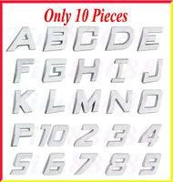 10pcs Car Auto 3D Emblem Badge Sticker Chrome Letters Number
