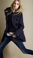2013 autumn New Horn buckle Double-breasted Wool Coat Women 8766