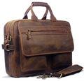 Vintage Crazy Horse Leather Briefcase Men messenger bags men s briefcase leather 15 laptop briefcase tote