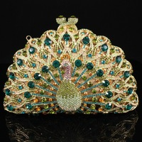 2013 elegant peacock shape diamand evening clutch bag with HK crystal luxury party bag S0801