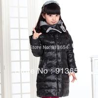 Free shipping Retail new 2014 autumn winter jacket girls down coat baby outerwear children down jackets kids medium-long jackets