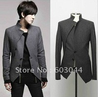 2013 FASHION MEN SLIM JACKET IRREGULAR FRONT OPEN+FASHION MEN APPARELS+CASUAL MEN DRESS+FREE SHIPPING+CLOTH WHOLESALE NTCB-001