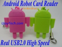 Wholesale 100pcs/lot Android Robot Micro SD Card Reader High Speed Real USB 2.0 TF Card Reader Mobile Phone Strap Free Shipping