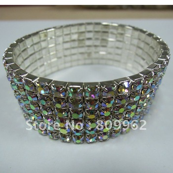 NEW  6 rows rhinestone  AB streched bracelet  holesale bracelets fashion AB crystal popular bracelet BG114923