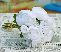 Min.order is $15 (mix order) White Tea Rose Silk Flower for Wedding Bouquet Party Decoration,Free Shipping CMH-4