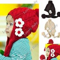 Drop Shipping New Fashion Cute Baby Girls Toddler Crochet Handmade Beanie knitted Hat Cap, Children Hat 5488