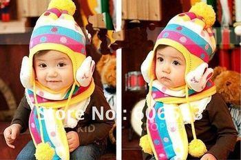 Free shipping!Children Winter hats earflap Cap Handmade kids Crochet Hats Rabbit Styles Baby Beanie/hat 6Pcs/lot