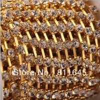 Crystal chain Rhinestone cup chain CPAM free,ss16(4mm) Crystal stone,Golden base,10yards/lot, garment accessories