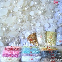 Free Shipping Mixed Size 1000pcs/Lot 3 to 10mm Cream Ivory Half Round Resin Flatback Nail Art Pearl
