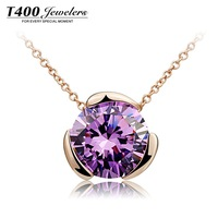 Hot sale T400 brand jewelry,made with AAA Zircon,Multicolor pendant necklace,beautiful mood#1772,free shipping