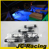 Free Shipping Fashion 4x 3LED Car Glow Blue Decorative Light 4in1 Car Interior Light Car Atmosphere Light (Fits any car )