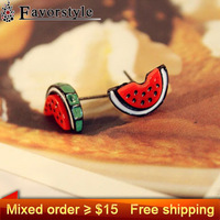 Mixed order more than $15 Get Free Shipping ~~~ watermelon  style gift  shamballa lovely cute earring earrings jewelry B2137