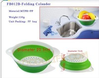2012 hot product MTPR PP Plastic Folding Colander/bowl food container&kitchenware fruit basket #FB012B Free delivery