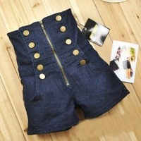 Frere Shipping Double Breasted Zipper High Waist Jeans Shorts Deep Blue new arrival