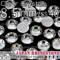 8.5mm SS40 Clear Crystal 250pcs/bag,Non Hotfix Rhinestones Resin FlatBack Crystal stones glitters for DIY Nail Art Decoration