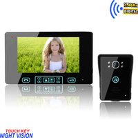 "Free shipping New touch key 7"" color wireless video door phone with alarm rainproof camera"