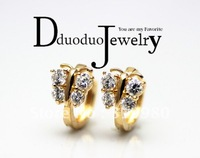 Zircon Jewelry   Women's Earring 18K Yellow Gold Filled Hoop Earrings  butterfly Jewelry Cut Zircon Wedding Jewelry