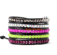 Beautiful Mixed Stones Leather Wrap Bracelet Wholesale Fashion Beads Bangle Bracelet Christmas Gift