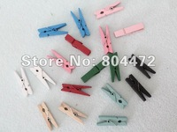 Free Shipping Retail wood clip/clamp/pins.mini wooden Clothes pegs 35mm wedding&gift 100pcs/lot, 9 assorted colors, 0007-35