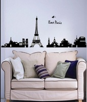 Free shipping hot selling wholesale   Popular Wall Sticker Eiffel Tower  Wall Mural Home decoration for kids room bath room1542