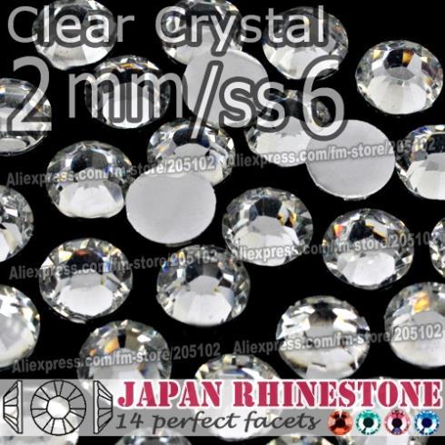 Big Promotion! 2mm SS6 Clear Nail Rhinestones 3000pcs/bag,Non Hotfix Crystal Resin FlatBack stone glitters for Glue DIY Nail Art(China (Mainland))