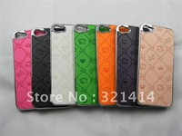 free shipping 30pc/lot hello kitty high quality PU leather chorme plated hard case cover for iphone 5