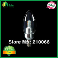 led candle bulb 3W Samsung Chip Light dimmable bulb E14 optional lamp base CE ROHS 10pcs/lot Free Shipping- 200LM