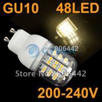 Free Shipping New GU10 SMD3528 48 LED Light Bulb Lamp Warm White 200-240V 4403