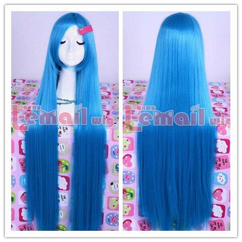 2014 New Fashion 100cm Silk Straight Anime Hair Blue Long Cosplay Wig ML159(China (Mainland))