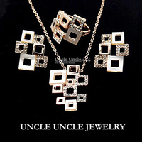 FREE SHIPPING 18K Gold Plated Hollowed Shell and Rhinestone Geometrical Frame Element Lady Jewelry Set  Earrings/Necklace/Ring