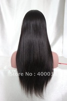 "Silk Top Full Lace Wigs Indian remy hair natural color Light Yaki Straight 10""-24"" Medium cap Free Shipping"