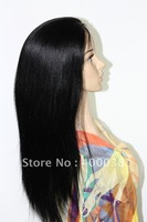 "Free style natural remy Indian hair light yaki straight silk cap full lace wigs in stock 18"" 1# jet black free shipping"
