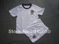 Youth Kids baby children boys girls' soccer uniforms england home 13 14 white jersey and short football kits