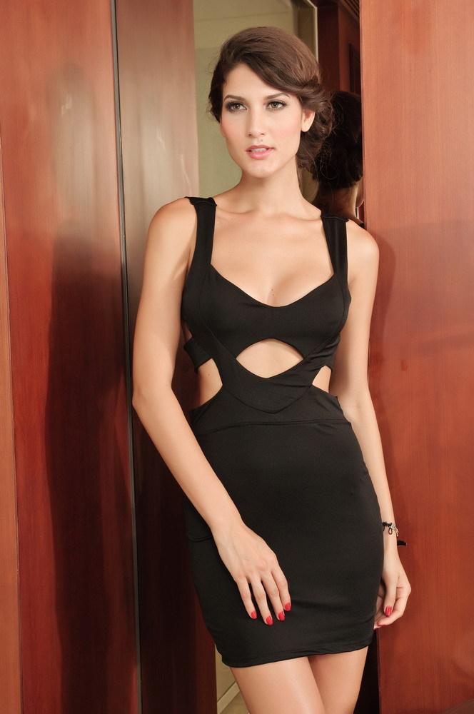 Bandage summer dress 2014 Black Hollow Cut Out Club Wear Women Sexy Dress GM2520 casual bodycon mini dress vestidos de fiesta