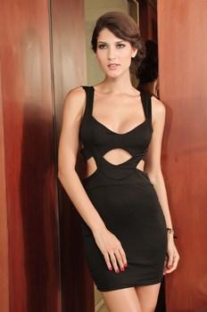 Bandage summer dress 2015 Black Hollow Cut Out Club Wear Women Sexy Dress GM2520 casual bodycon mini dress vestidos de fiesta