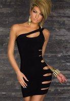 2014 New Fashion Black Hole Bodycon Bandage Dresses Sexy Sleeveless Off Shoulder Novelty Dress Evening Party Dress