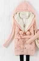 C3t1 winter Women Sweater Hoodies Sweaters 2014 Women Fashion Thicken Knitted Warm Fleece Over Coat Hooded Long Sleeve Pink
