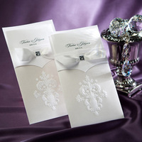Vintage White Flor-de-lis Free Personalized & Customized Printing Wedding Invitations Cards with Bow (Set of 50) Free Shipping