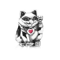 925 Silver Wealth cat Enamel charm European Bead Compatible with Snake chain Bracelets #106