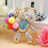 Free Shipping Full Rhinestone, Alloy Bear Keychain with Colorful Beads,  Keyring handBag Charm Real Gold Plated ,Nickel free