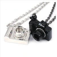 New Arrival Fashion Lovely Black Silver Camera with Crystal long Necklace N78