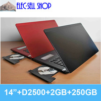 New OEM 14 inch 2GB/250GB Dual core Intel D2500 laptop computer with DVD burner CPU 1.86GHz notebook PC